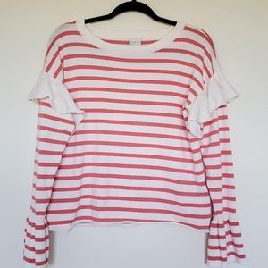 Cupio coral stripe boxy sweater ruffle medium